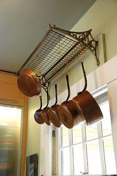 Antique Train Luggage Rack Repurposed into Pot Hanger! Studio Kitchen, New Kitchen, Kitchen Design, Pot Rack Hanging, Hanging Pots, Kitchen Cabinet Organization, Kitchen Storage, Kitchen Utensils, Pan Storage
