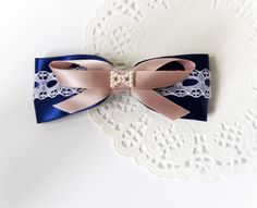 Navy Blue Ribbon Bow with White Lace and Pearllike by lintoon, $4.75