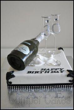 Champagne Bottle Birthday Cake Wine, Champagne Birthday, 21st Birthday Cakes, Birthday Cake Toppers, Champaign Cake, Champaign Bottle, 1st Anniversary Cake, Cristal Champagne, Disco Cake