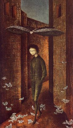 1961 - 'Nino y Mariposa' (Boy and Butterfly) by Remedios Varo (1908-1963), Mexico