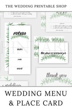 Botanical Wedding Menu and Place Card Printable Wedding Place Cards, Wedding Menu, Diy Wedding, Wedding Day, Stationery Design, Wedding Stationery, Wedding Printable, Floral Printables, Botanical Wedding