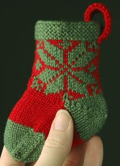 Ravelry: Tiny Christmas Stocking pattern by Lara Neel Christmas Stocking Pattern, Knitted Christmas Stockings, Xmas Stockings, Christmas Knitting, Nordic Christmas, Crochet Christmas, Modern Christmas, Christmas Christmas, Christmas Ornament