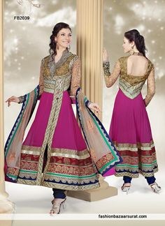 Perfect Purple And Multicolor Anarkali Salwar Suit