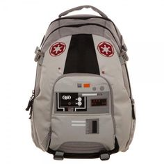 Star Wars AT-AT Pilot Backpack Designed to look like the helmet of an AT-AT driver, this Star Wars AT-AT Pilot Backpack is crafted from wipe-clean gray, tan, and black polyester. It\'s decorated with official Imperial appliques, and features two side pock Star Wars Rucksack, Imperial Logo, Star Wars Decor, Star Wars Quotes, Star Wars Christmas, Star Wars Outfits, Star Wars Love, Star Wars Merchandise, Backpack Reviews