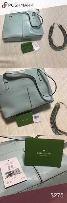 Kate Spade bag Beautiful teal green Kate Spade bag. New with tag has 10 pockets. Six pockets inside and four pockets outside. Colorful flowers design interior kate spade Bags