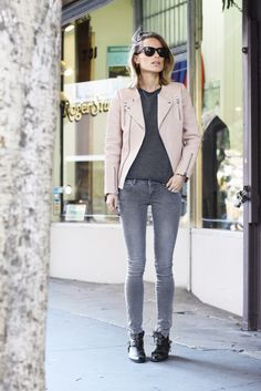 Style...Anine Bing // Anine's World // leather jacket + ankle boots + denim casual style