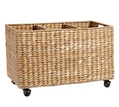 "3. pottery barn alderwood might have it - wide - 23""; depth - 13""; height - 15""  - Savannah Recycling Bin $99"