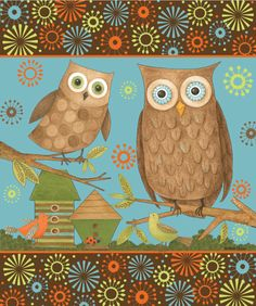 'Owls' - by artist Debbie Mumm - (autumn, fall, illustration)