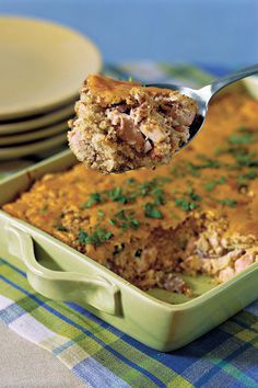 Chicken and Cornbread Casserole   Prepare these tasty recipes for a heat-and-eat supper your family is sure to love. How do we love casseroles? Let us count the ways! They are quick and easy to prepare, portable for potlucks and other gatherings, satisfy the hungriest crowd, can be made ahead, save time on clean up, and are hands-down the most comforting dish to dig into. Every Southern cook has a favorite go-to casserole recipe, but there is always room for more. Choose from dozens of our…