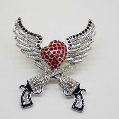 Rhinestone Wings & Guns Heart Pendant-wings and guns heart pendant, cowgirl pendant, heart pendant