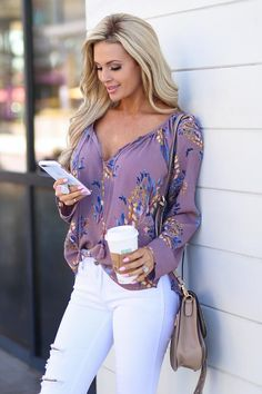 LOVE STITCH Island Moonlight Top - Dusty Lavender