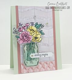 Brand new Jar of Flowers from Stampin' Up!'s new Annual Catalog is in the house! I loved spending a little time coloring with Stampin' Blends. Flowers In Jars, Bunch Of Flowers, Sending Prayers, Stamping Up, Rubber Stamping, Card Tutorials, Card Maker, Flower Cards, Creative Cards