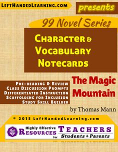 The Magic Mountain by Thomas Mann - LeftHandedLearning.com 's {99 Novel} Series provides support materials to secondary teachers to facilitate superior instruction. Wouldn't it be nice to have notecards already on-hand to provide to INCLUSION students who need them?