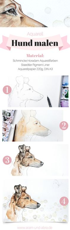 Step by step: dog painting in watercolor Watercolor Animals, Watercolor Paintings, Step By Step Watercolor, Free Dogs, Watercolour Tutorials, Dog Paintings, Watercolor Portraits, Simple Art, Art Techniques