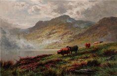 Art - oil on canvas by Henry Hillier Deacon Parker. Landscape of the Scottish Highlands. Oil Painting For Sale, Victorian Art, Scottish Highlands, Art Oil, Oil Paintings, Oil On Canvas, British, Landscape, Scenery