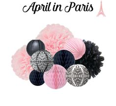 Pink and Black 10-Piece Tissue Pom, Paper Lantern & Honeycomb Tissue Ball Set - APRIL IN PARIS Theme Party Decorations - Pink, Black, Damask