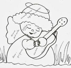 desenho de anjinho tocando violao para pintar