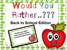 Browse over 170 educational resources created by Second Grade Poppy in the official Teachers Pay Teachers store. 5th Grade Reading, 2nd Grade Math, Second Grade, Back To School Night, First Day Of School, First Day Activities, Would You Rather Questions, Fun Brain, Beginning Of School