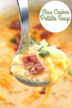 This Slow Cooker Potato Soup loaded with cheese and topped with bacon makes for a perfect winter meal. This cheesy soup is super simple and cooks all day right in your Crock-Pot. Load on some extra cheese and green onions to really kick it to another yummy level. Slow Cooker Potato Soup During the cold …