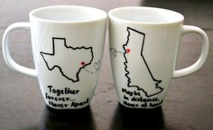 Long Distance Relationship Mugs  State To State by DreamAndCraft
