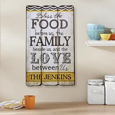 Bless the Food & Family Plaque - Bless the food before us, the family beside us, and the love between us.