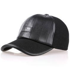 e6c23ba973f8f Baseball Cap for Men High Quality Winter Woolen Fabric Leather Patchwork Hat  Adjustable Hatband Ear Protector