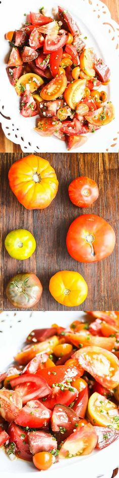 Summer Tomato Salad with Sherry Vinegar and Shallots ~ http://jeanetteshealthyliving.com