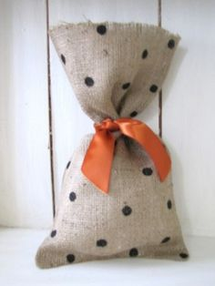 Polka Dot Burlap Gift Treat Bag