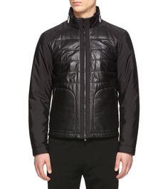 Leather outerwearLogo detail Techno fabric & BlackLambskin |Zegna Sport