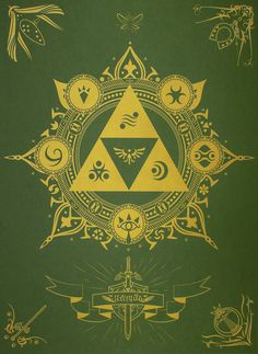 """Mount Thunder has released a Zelda tribute print entitled """"Legend"""". It's up for sale now, printed with gold metallic ink on green cover french paper – each print is stamped and hand numbered. Pretty cool for any Zelda Fan! The Legend Of Zelda, Legend Of Zelda Breath, Link Zelda, Zelda Tattoo, Video X, Scott Pilgrim, Video Game Art, Video Games, Twilight Princess"""
