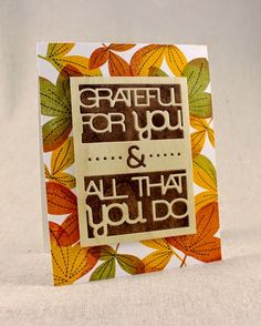 Autumnal Grateful Card by Lizzie Jones for Papertrey Ink (July 2014)