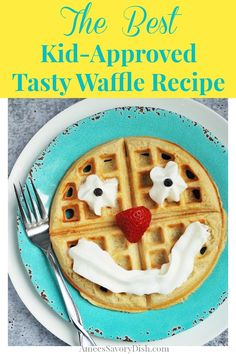 This simple tasty waffle recipe from scratch made with unbleached flour, eggs, milk and butter is a must try and your kids will love decorating them! Healthy Lunches For Kids, Kids Meals, Healthy Meals, Healthy Food, Waffle Recipes, Brunch Recipes, Waffle Recipe From Scratch, Good Food, Yummy Food