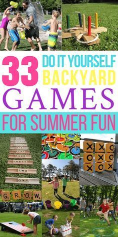 33 Awesome DIY Outdoor Games For Summer Fun - Looking for fun and simple DIY backyard games and activities? These 33 homemade ga - Summer Fun For Kids, Summer Diy, Diy For Kids, Summer Games, Party Summer, Summer Ideas, Backyard Party Games, Backyard For Kids, Backyard Camping