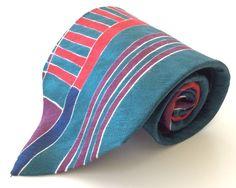 Bugatti Neck Tie Green Red Blue Geometric 100% Italian Silk #Bugatti #NeckTie