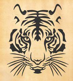 Tigre Tribal, Tribal Tiger, Tiger Stencil, Dm Foto, Tiger Silhouette, Lion Drawing, Tiger Face Drawing, Cricut Design Studio, Scroll Saw Patterns