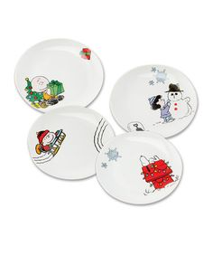 This Peanuts Holiday Ceramic Plate Set is perfect! #zulilyfinds