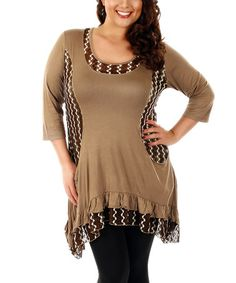 Look at this #zulilyfind! Brown Lace Sidetail Tunic - Plus by Lily #zulilyfinds