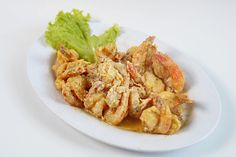 Deep fried prawn covered with salted egg