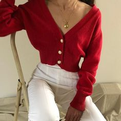 Cherry red low v-neck cotton/rami blend cardigan sweater, beautiful worn on or off shoulder. Resort 2019 trends