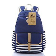 BLUBOON School Bags Bookbags Canvas Backpacks for Outdoor/School/Collage (Dark Blue-Stripe)