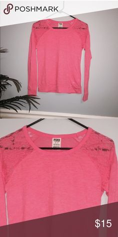 VS PINK shirt 👚 Great condition, lace shoulder top PINK Victoria's Secret Tops Tees - Long Sleeve