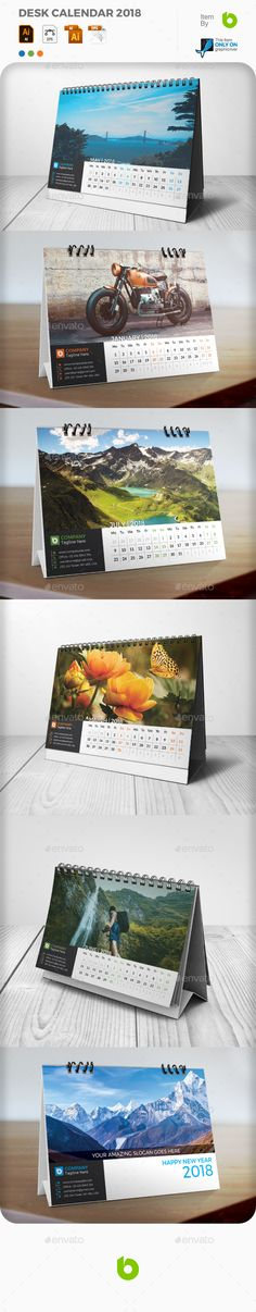 Desk Calendar 2018 - Calendars Stationery    #calendars  #stationery  #DeskCalendar  #graphicriver  #Design #Desk #buisness
