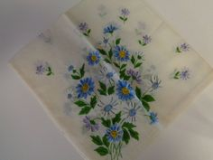 Vintage Hankerchief Embroidered Flowers Handkerchief - 1940s-1960's by lillysdollclothes on Etsy
