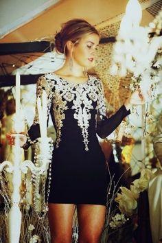 Golden Embroidered Black Dress