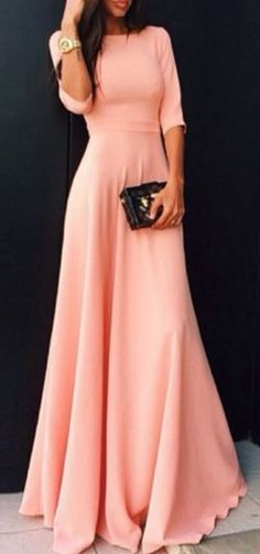 Love Pink! Coral Pink Round Neck Half Sleeve Maxi Dress #Sweet #Pink #Maxi…