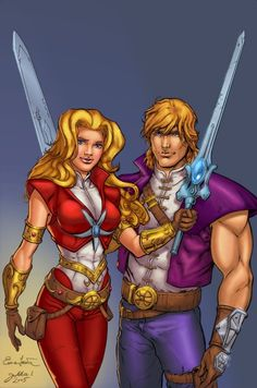 """Princess Adora and Prince Adam drawn by the co-official penciller Enza Fontana of the """"Masters of the Universe"""" comic. This was a fun pinup to work with. Adora and Adam Cartoon Costumes, Cartoon Outfits, Gi Joe, Old School Cartoons, 80 Cartoons, American Cartoons, She Ra Princess Of Power, Sword And Sorcery, Cartoon Shows"""
