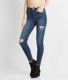 ace9d37b5f913d Seriously Stretchy Dark Wash High-Waisted Ankle Jegging Ripped Jeggings,  Denim Leggings, Skinny