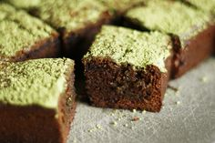 Chocolate Mochi Brownies with Matcha...totally making these (or at least the mochi brownie part)!!!
