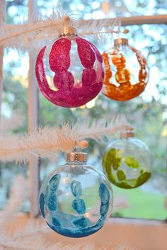 Make Glittered Handprint Keepsake Ornaments