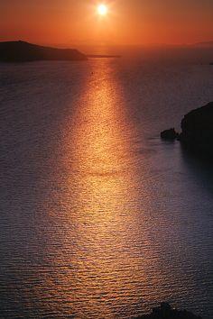 Orange Sunset in Santorini, Greece